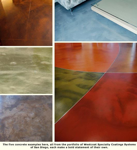 five concrete floor samples