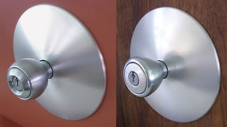 (L-R): Globe knob with Eichler plate, Cone with Eichler plate, Bell with Schlage-Fairhill plate, Orbit with Fairhill plate.