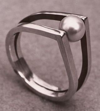 The rolling pearl ring by Renk (silver and rolling pearl, 1954).