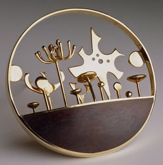 The Gold Garden pin (14K gold, rosewood, 1963).