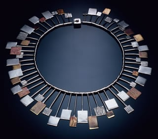 Squares necklace (silver, brass, and copper, 1962).