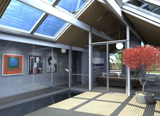 Conceived by the firm Modern House Architects, this illustration shows a planned atrium remodel, which will include a koi pond on two sides, for Sunnyvale owner Jackie Brooks.
