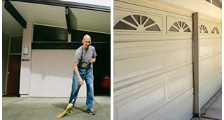 A traditional roll-up garage door.