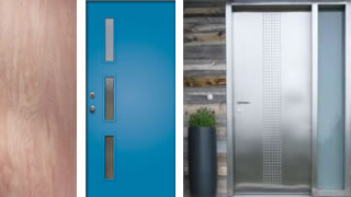 L-R: Jeld-Wen slab door from Home Depot, Langston Doorlite Kit from Crestview Doors, Neoporte's Racerback door.