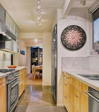 Lillian Sizemore's 'Diamond Heart' mandala, in her Lucas Valley Eichler kitchen.