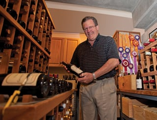 Crosby in his at-home wine cellar.