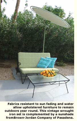 uphostery fabric sample on patio furniture