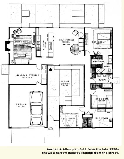 Atrium Home Plans on mid century modern house plans with atriums
