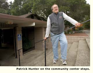 Patrick Hunter on the community center steps