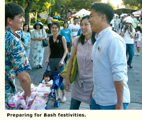 neighbors gather for the bash
